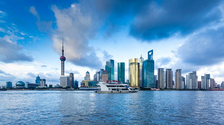cityscape of huangpu river and the the bund in shanghai,China