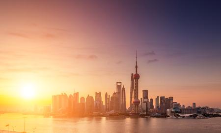 impressive: Beautiful Shanghai Pudong skyline at dusk