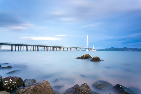 Shenzhen naar Hongkong Bay Bridge Stockfoto