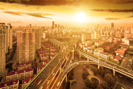 modern city viaduct junction by fisheye view at dusk in shanghai Stock Photo