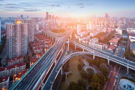 viaducts: beautiful overpass at the intersection of two viaducts in shanghai