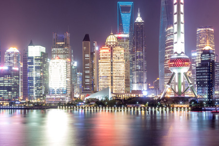 shanghai Pudong cityscape viewed from the bund, the beautiful city scenery Editorial
