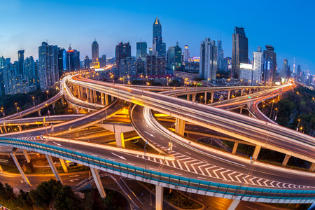 nightfall: shanghai interchange overpass and elevated road in nightfall Stock Photo
