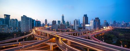 shanghai interchange overpass and elevated road in nightfall Zdjęcie Seryjne