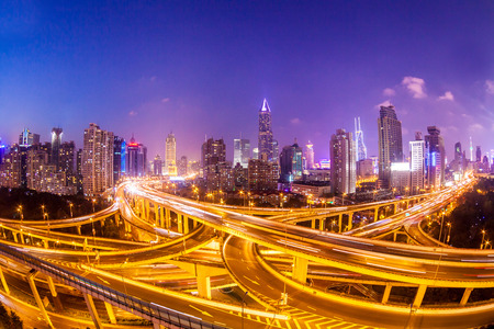 shanghai interchange overpass and elevated road in nightfall photo