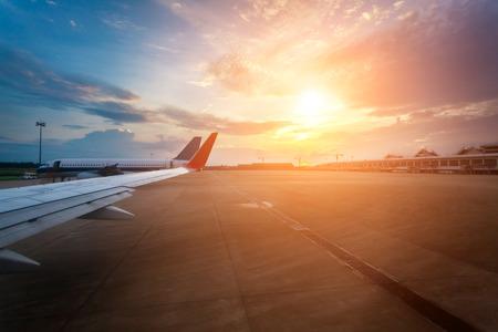 Airport apron sunset Zdjęcie Seryjne