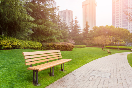 garden path: Bench in the city park