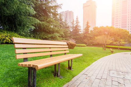 recreation: Bench in the city park