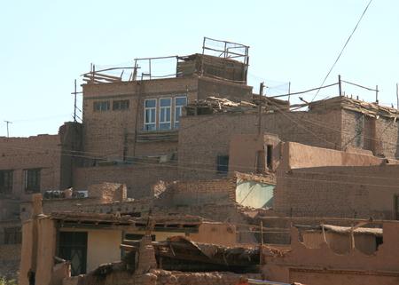 xinjiang: Haute plateforme quartier résidentiel dans la vieille ville de Kashgar, Xinjiang, en Chine Banque d'images