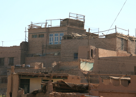 High platform residential area in the old town of Kashgar, Xinjiang, China