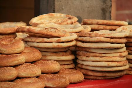 nang: Delicious Uyghur bread Nang, Kashgar, Xinjiang, China Stock Photo
