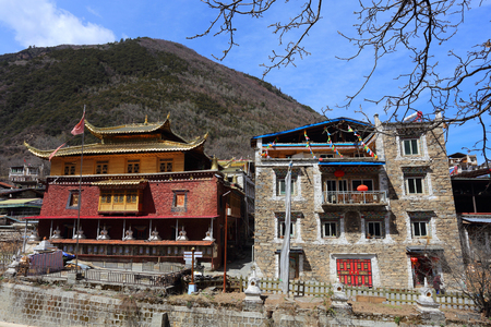 chieftain: Traditional Tibetan temple and residence buildings in Zhuokeji official chieftain village, Sichuan, China Editorial