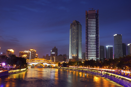 blue hour: Night view of beautiful Anshun Bridge above Jinjiang river, and downtown of Jiuyanqiao in the blue hour, Chengdu, Sichuan, China