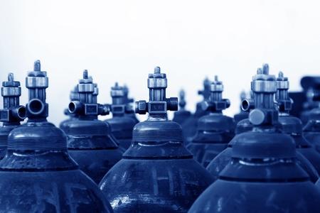 regulators: Industrial high pressure oxygen cylinder in factory Stock Photo