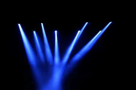 searchlights: stage lighting effect in the darkness
