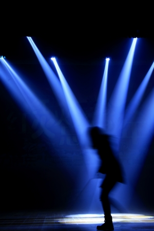 stage lighting effect in the darkness, closeup of photo Stock Photo - 18574663