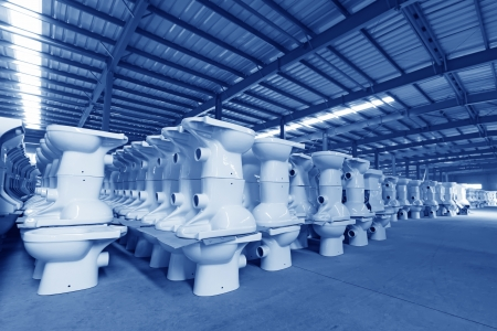closestool: LUANNAN COUNTY OF HEBEI PROVINCE - OCTOBER 23: Ceramic closestool products in a warehouse of the ZhongTong Ceramics Co., Ltd. On October 23, 2012, Luannan county, Hebei Province, China.