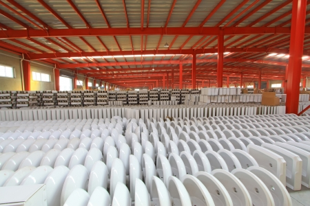 closestool: LUANNAN COUNTY OF HEBEI PROVINCE - OCTOBER 23: Ceramic closestool products assemblies in a warehouse of the ZhongTong Ceramics Co., Ltd. On October 23, 2012, Luannan county, Hebei Province, China.
