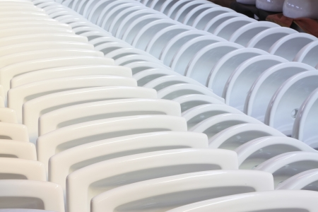 ceramic closestool products in a warehouse, in a factory Stock Photo