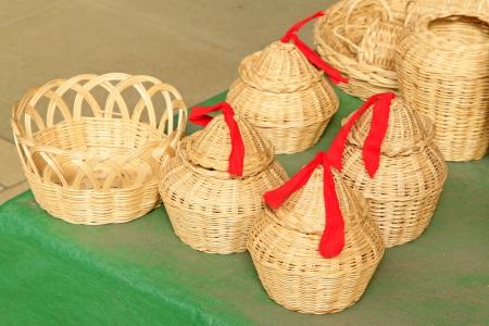 farm implements: wicker weaving crafts in a market Stock Photo