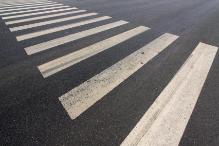 zebra crossing on the road, closeup of photo Stock Photo