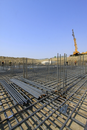 Rebar Engineering at a construction site, north china  Stock Photo