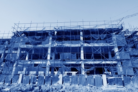 grue  tour: �chafaudages et grues � tour, sur un chantier de construction, Chine du Nord