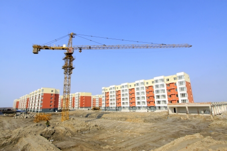 unfinished building and tower crane, at a construction site, north china  Stock Photo