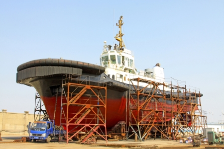 ship was under repair in the dock, north china