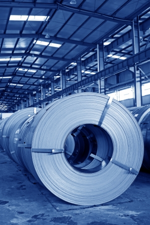 Hot rolled strip steel products in a warehouse