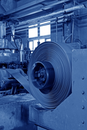 Hot rolled strip steel products in the production line photo