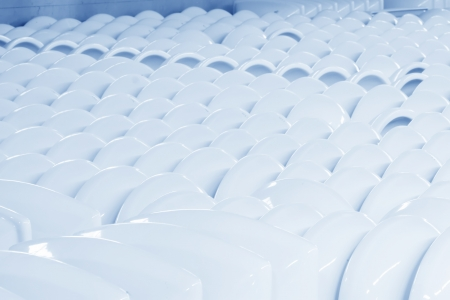 closestool: ceramic closestool products in a warehouse, in a factory Stock Photo