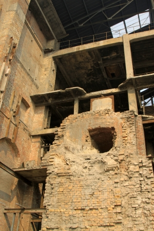dilapidated building in a factory, closeup of photo photo