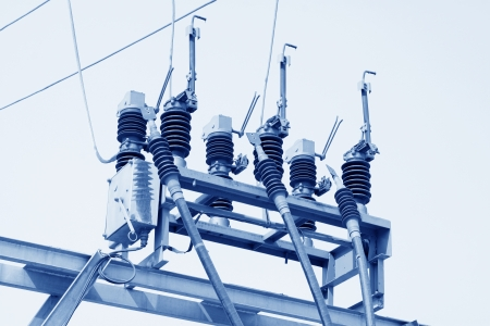 part of high voltage substation with switches and disconnector Stock Photo - 19255332