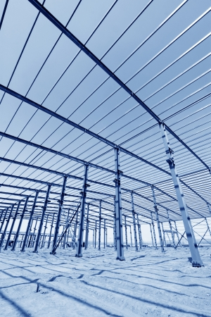 industrial production workshop roof steel beam in a factory photo