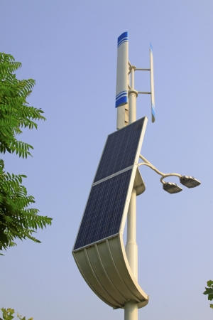 endothermic: solar street lights under the sky background