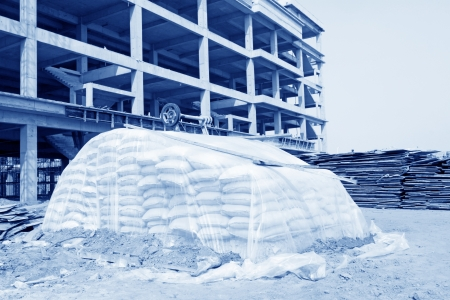 bagged: bagged cement in a construction site