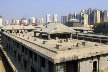 concrete pouring building, closeup of photo