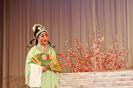 luxuriant: LUANNAN COUNTY - NOVEMBER 25  The ancient costume PingJu   Face peach blossom   still in the ChengZhaoCai grand theater, on november 28, 2013, luannan county, hebei province, china