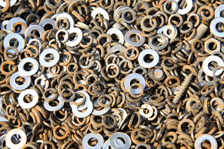 gasket, a kind of ardware components piling up in together Stock Photo - 26319545