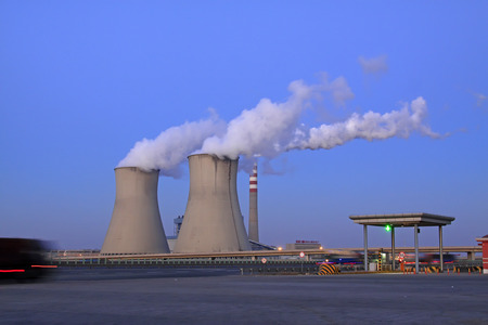 cooling tower: TIANJIN - DECEMBER 9: The cooling tower building landscape in a thermal power plant, on December 9, 2013, tianjin, China.