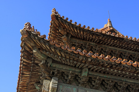 restore ancient ways: Eaves landscape architecture in north china, closeup of photo Stock Photo