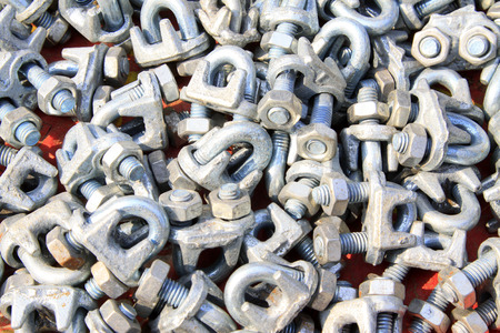 fasteners: oxidize nut fasteners piling up in together Stock Photo