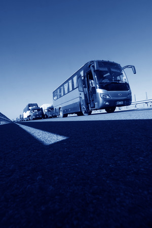 TIANJIN - DECEMBER 9: The buses was stopped on the highway Because of the traffic jam, on December 9, 2013, tianjin, China.