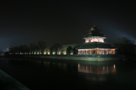 turrets: The Northwest turrets of the Forbidden City at night