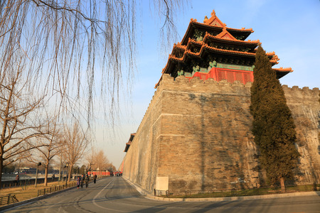turrets: BEIJING - DECEMBER 22: The Southwest turrets of the Forbidden City, on december 22, 2013, beijing, china.