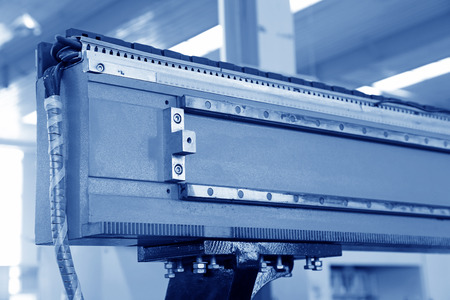 The numerically-controlled machine tool in the production line, in a solar equipment production workshop.