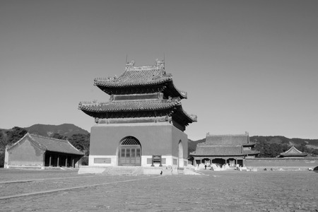 luxuriant: ZUNHUA - DECEMBER 15: The Memorial hall building landscape, in the Eastern Tombs of the Qing Dynasty, on december 15, 2013, ZunHua, hebei province, China.