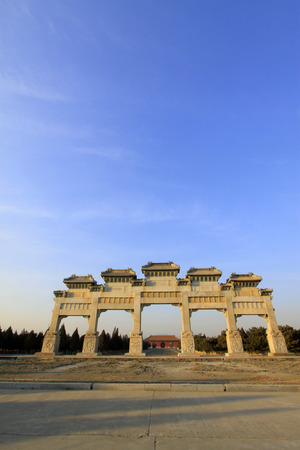 luxuriant: ZUNHUA - DECEMBER 15: The stone arch building landscape, in the Eastern Tombs of the Qing Dynasty, on december 15, 2013, ZunHua, hebei province, China.