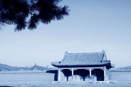 luxuriant: ZUNHUA - DECEMBER 15: Chinese traditional style building landscape, in the Eastern Tombs of the Qing Dynasty, on december 15, 2013, ZunHua, hebei province, China.
